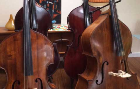 the double bass room - basses laid out
